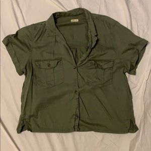 Olive green cropped blouse